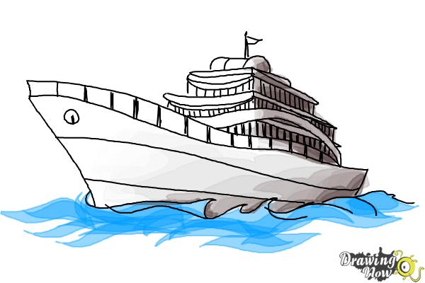 How to Draw a Yacht - Step 11
