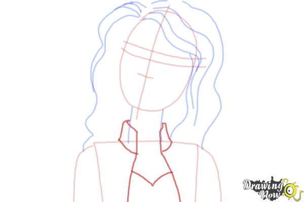 How to Draw Nikki from Barbie: Life In The Dreamhouse - Step 6