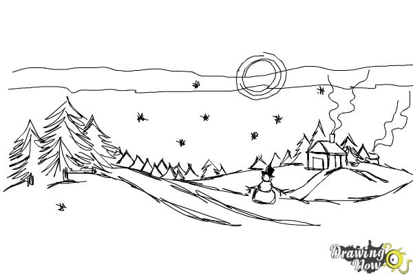 How to Draw a Winter Scene - Step 10