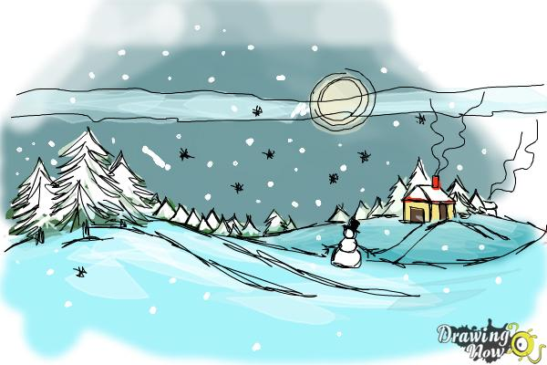 How to Draw a Winter Scene - Step 11