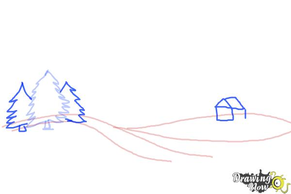 How to Draw a Winter Scene - Step 4