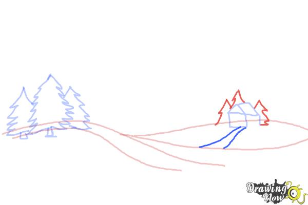 How to Draw a Winter Scene - Step 5