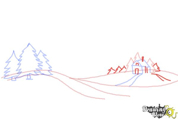 How to Draw a Winter Scene - Step 6