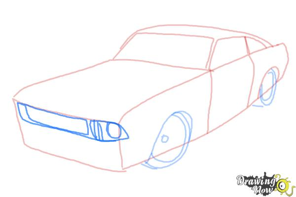 How to Draw a Ford Mustang - Step 4