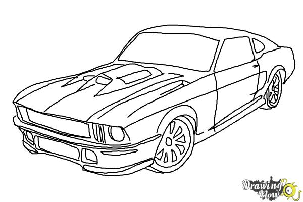 how to draw a ford mustang drawingnow. Black Bedroom Furniture Sets. Home Design Ideas