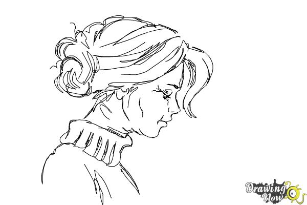 Woman S Face Line Drawing : How to draw an old woman drawingnow