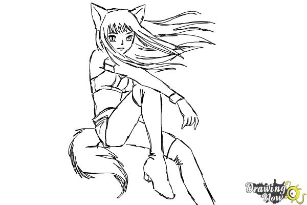 How to Draw Renee from Mew Mew Power - Step 13