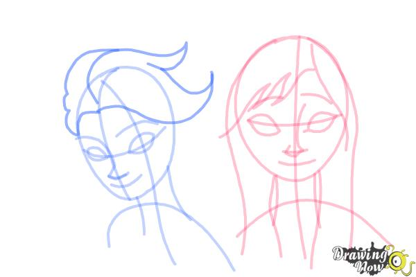 How to Draw Anna And Elsa from Frozen - Step 11