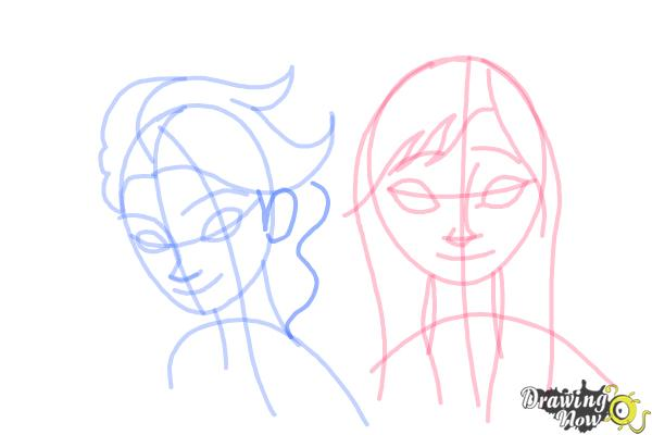 How to Draw Anna And Elsa from Frozen - Step 12