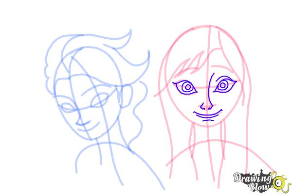 How to Draw Anna And Elsa from Frozen - Step 13