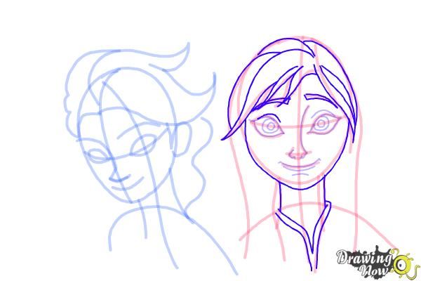 How to Draw Anna And Elsa from Frozen - Step 14
