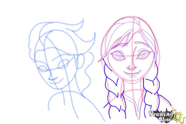 How to Draw Anna And Elsa from Frozen - Step 15