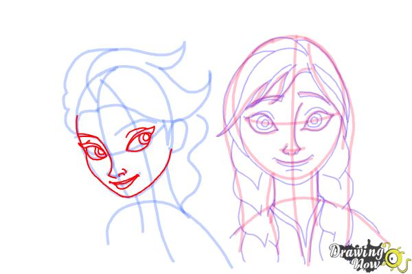 How to Draw Anna And Elsa from Frozen - Step 16