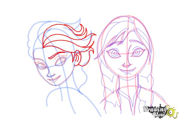 How to Draw Anna And Elsa from Frozen - Step 17
