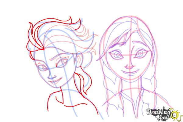 How to Draw Anna And Elsa from Frozen - Step 18