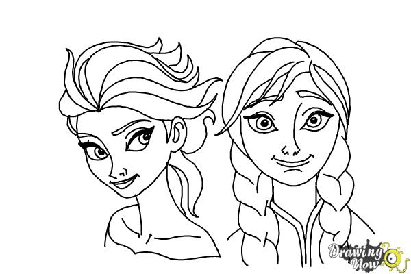 How to Draw Anna And Elsa from Frozen - Step 19