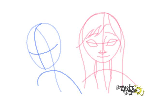 How to Draw Anna And Elsa from Frozen - Step 8