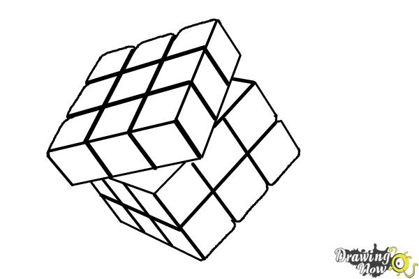 How to Draw a Rubik'S Cube - Step 9