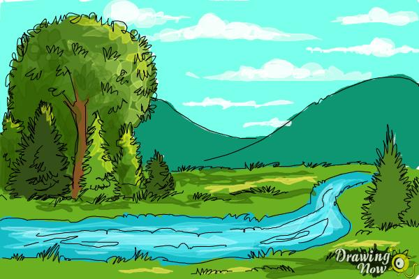 How to Draw a River - Step 8