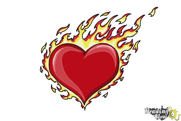 How to Draw a Flaming Heart - Step 10