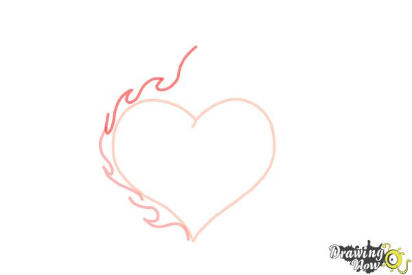 How to Draw a Flaming Heart - Step 3