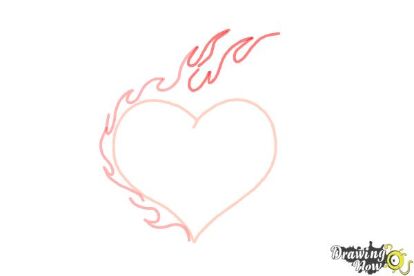 How to Draw a Flaming Heart - Step 4