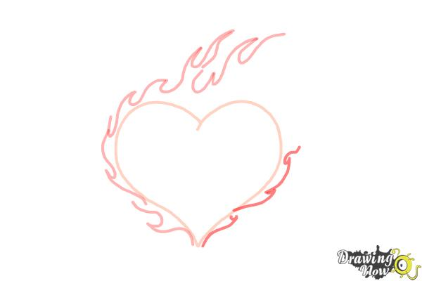 How to Draw a Flaming Heart - Step 5