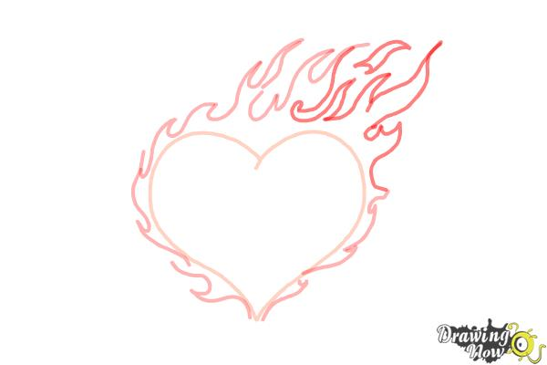 How to Draw a Flaming Heart - Step 6
