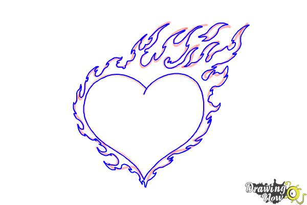How to Draw a Flaming Heart - Step 7