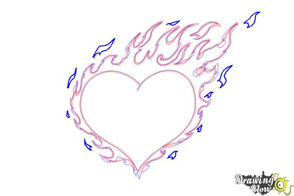 How to Draw a Flaming Heart - Step 8