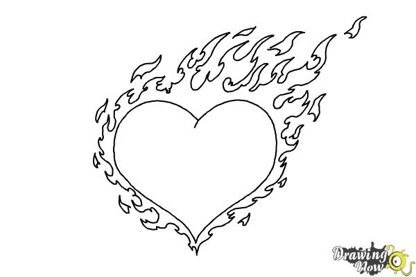 How to Draw a Flaming Heart - Step 9