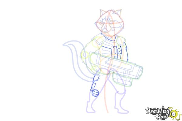How to Draw Rocket Raccoon from Guardians Of The Galaxy - Step 14
