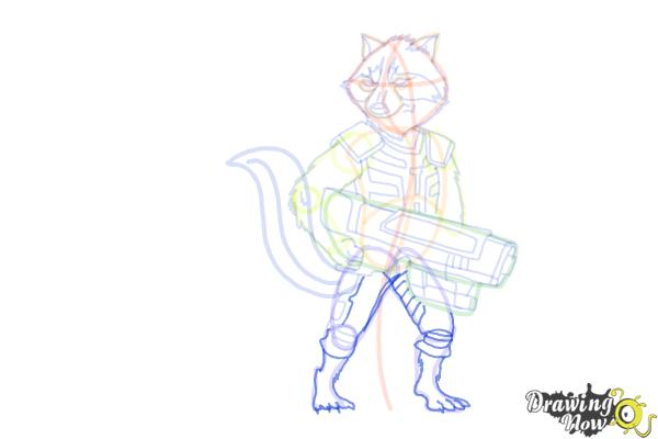 How to Draw Rocket Raccoon from Guardians Of The Galaxy - Step 15