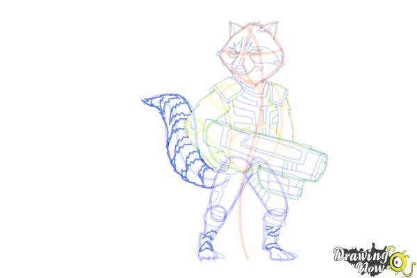 How to Draw Rocket Raccoon from Guardians Of The Galaxy - Step 16