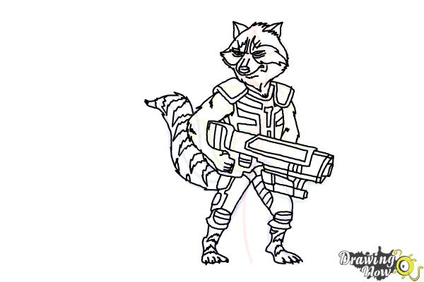 How to Draw Rocket Raccoon from Guardians Of The Galaxy - Step 17