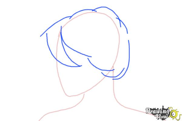 How to Draw a Messy Bun - Step 2