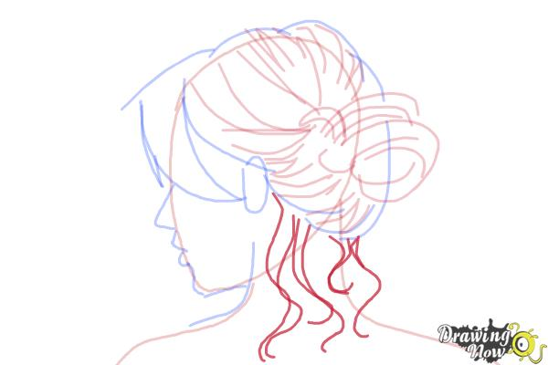 How to Draw a Messy Bun - Step 7