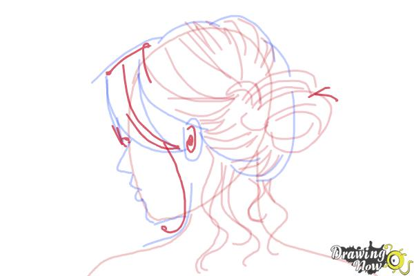 How to Draw a Messy Bun - Step 8