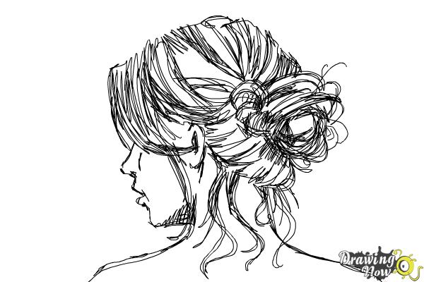 How to Draw a Messy Bun - Step 9