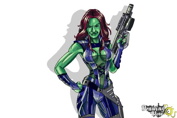 How to Draw Gamora from Guardians Of The Galaxy - Step 10
