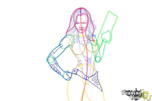 How to Draw Gamora from Guardians Of The Galaxy - Step 6