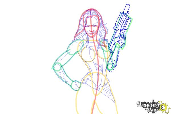 How to Draw Gamora from Guardians Of The Galaxy - Step 7