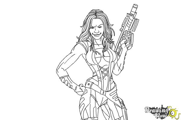 How to Draw Gamora from Guardians Of The Galaxy - Step 9