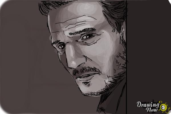 How to Draw Liam Neeson - Step 11