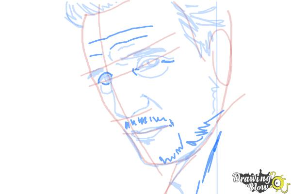 How to Draw Liam Neeson - Step 9