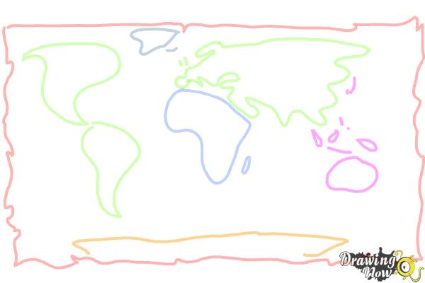 How to Draw a World Map - Step 4