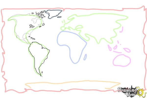 How to Draw a World Map - Step 6