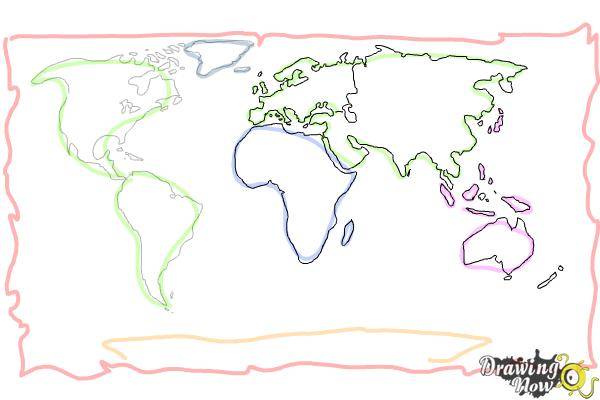 How to draw a world map drawingnow how to draw a world map step 7 gumiabroncs Gallery
