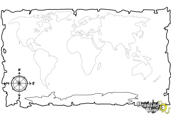 How to draw a world map drawingnow how to draw a world map step 8 gumiabroncs Gallery
