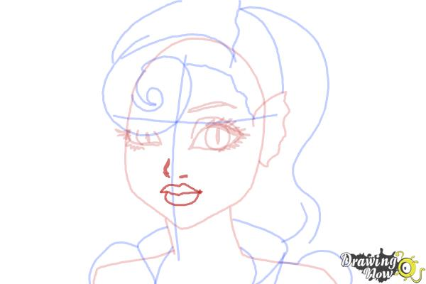 How to Draw Lagoonafire  from Monster High Freaky Fusion - Step 7